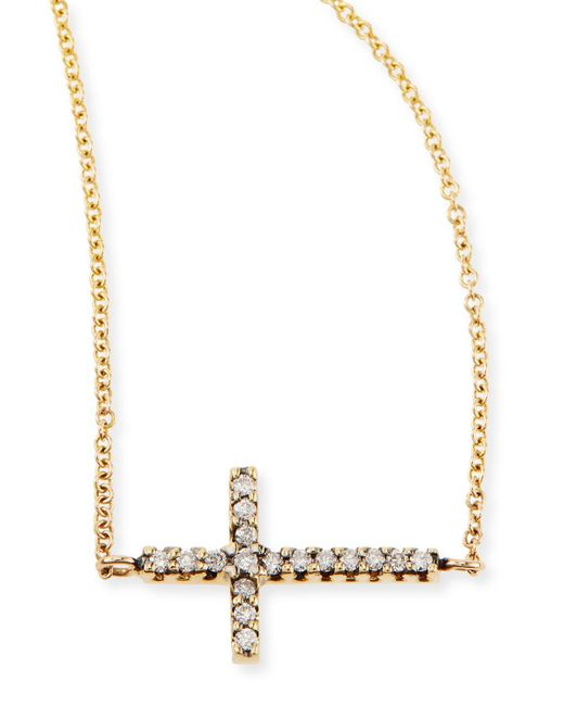 Mizuki | Metallic Pave Diamond Side Cross Necklace | Lyst