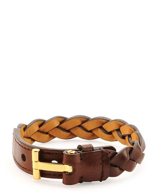 Tom Ford | Brown Nashville Men's Braided Leather Bracelet | Lyst