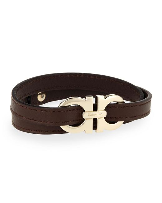 Ferragamo | Brown Men's Gancini Leather Wrap Bracelet for Men | Lyst