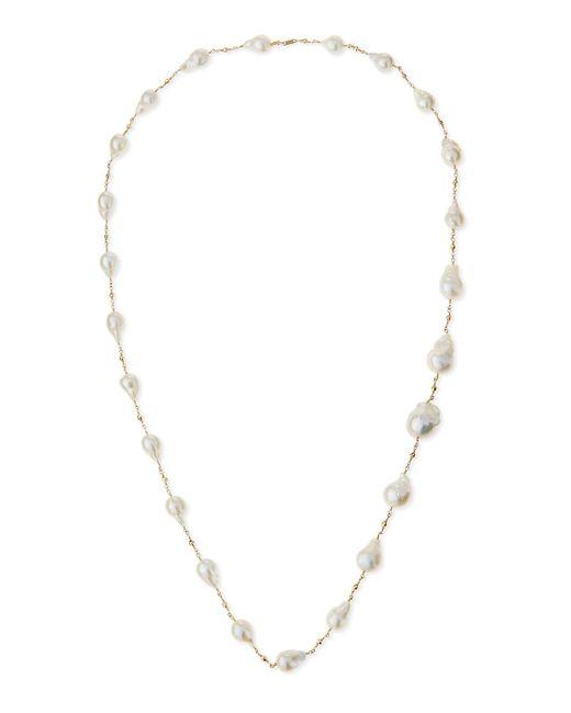 Mizuki | White 14k Gold Pearl Station Necklace | Lyst
