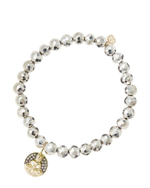 Sydney Evan | Metallic 6mm Faceted Silver Pyrite Beaded Bracelet With 14k Gold/diamond Sitting Buddha Charm (made To Order) | Lyst
