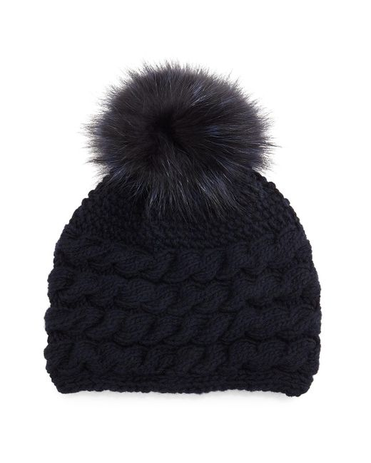 Inverni   Blue Cashmere Cable-knit Beanie Hat W/fur Pom Pom   Lyst