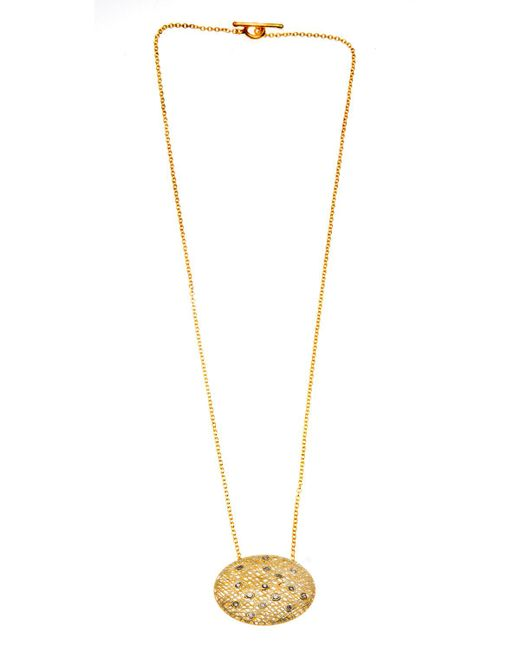 Yossi Harari | Metallic 24k Wire Lace Pendant Necklace W/champagne Diamonds | Lyst