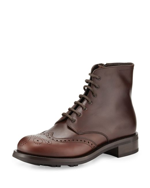 Prada | Brown Gradient Leather Wing-tip Lace-up Boot for Men | Lyst