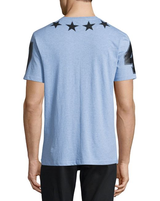 Givenchy star print heathered t shirt in blue for men lyst for Givenchy star t shirt