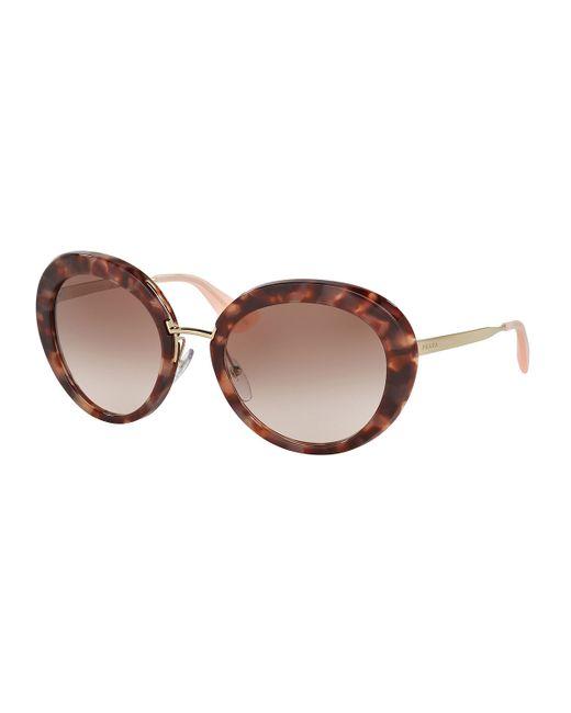 6a48509534c68 Prada Black Acrylic Oversized Round Sunglasses