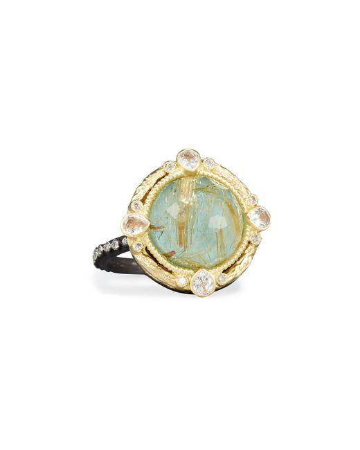 Armenta | Metallic Old World Midnight Turquoise & Quartz Doublet Ring With Diamonds | Lyst