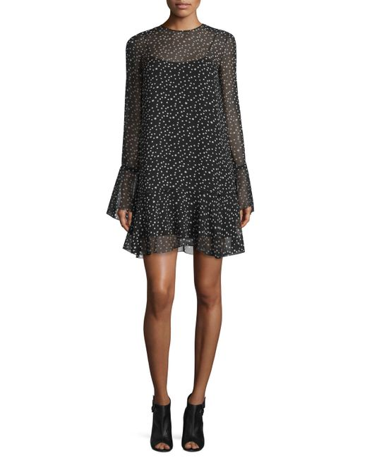 Theory | Black Marah Star-print Silk Dress | Lyst
