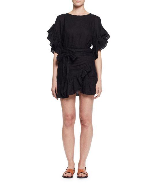201 Toile Isabel Marant Delicia Ruffle Trim Wrap Dress In