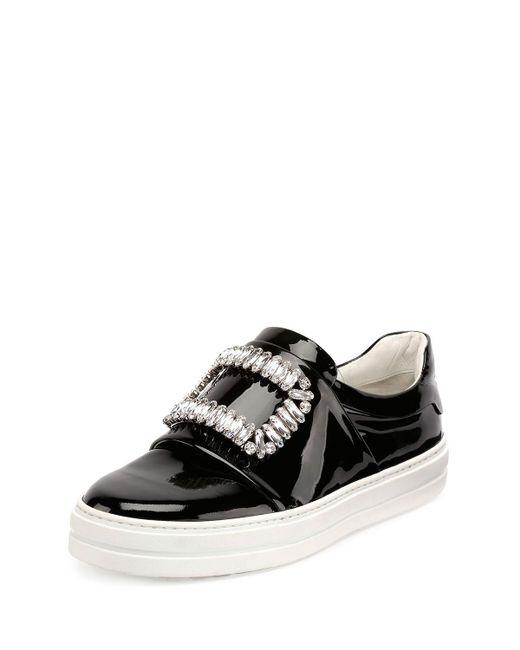 Roger Vivier | Black Patent Strass Buckle Sneaker | Lyst