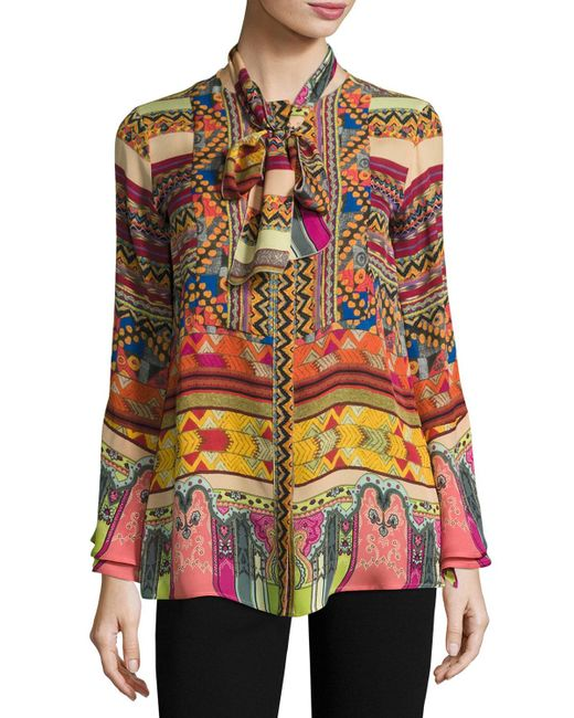 Etro | Multicolor Printed Silk Shirt With Scarf | Lyst
