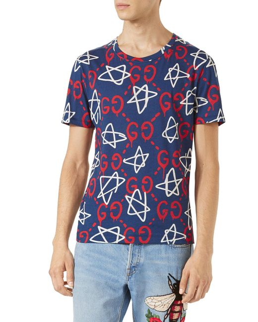 Gucci Ghost Print Crew Neck T Shirt In Blue For Men Lyst