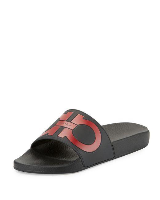 Ferragamo   Black Groove Gancini Slide Sandal for Men   Lyst