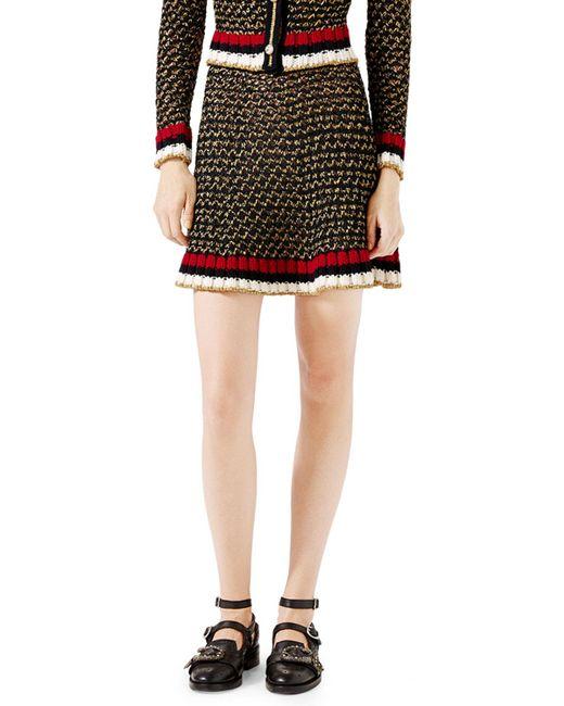 gucci metallic knit a line skirt in black lyst
