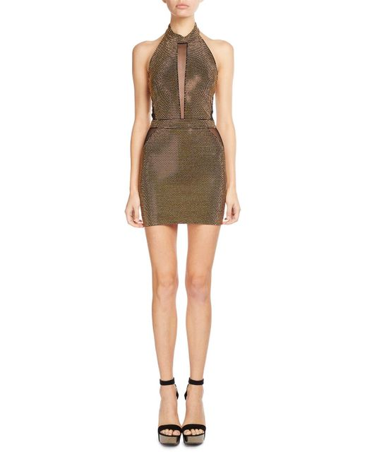Balmain | Black Studded Illusion Halter Dress | Lyst