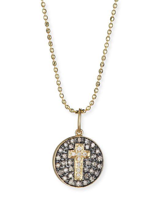 Sydney Evan | Metallic Cross Medallion Necklace With Diamonds | Lyst