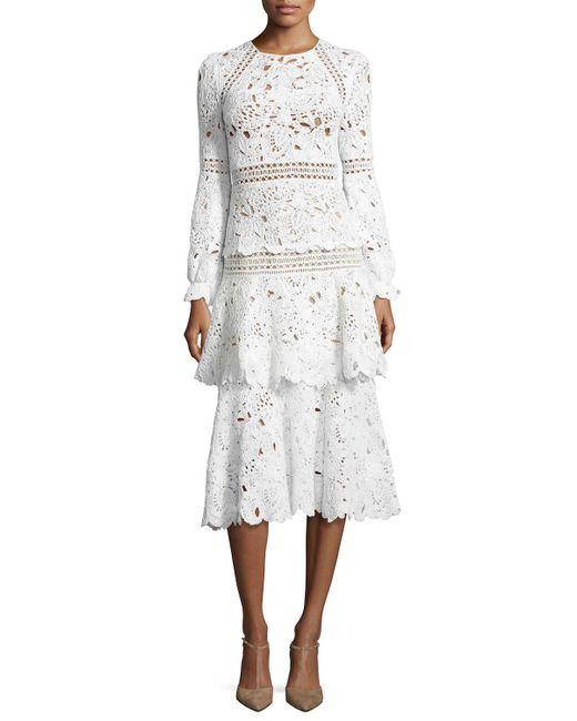 Oscar de la Renta | White Long-sleeve Macrame Midi Dress | Lyst