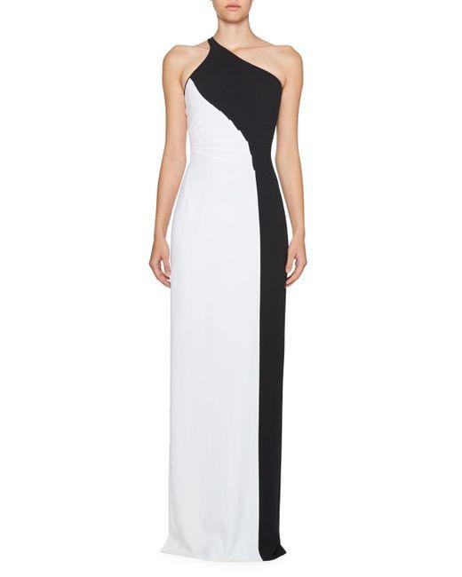 Stella McCartney | Black Colorblock One-shoulder Gown | Lyst