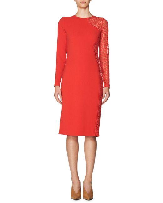 Stella McCartney | Red Lace-side Long-sleeve Dress | Lyst