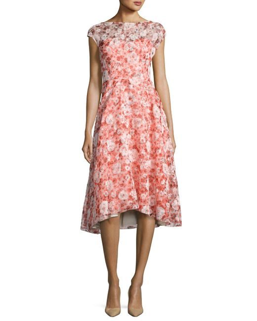Lela Rose   Red Flocked Poppy-print Organza Dress   Lyst