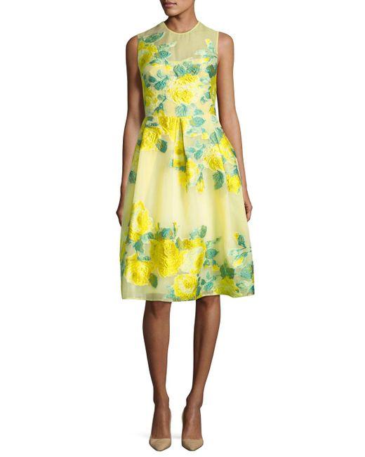 Lela Rose | Yellow Floral Fil Coupe Full-skirt Dress | Lyst