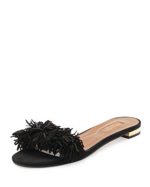 Aquazzura   Black Wild Thing Suede Flat Slide Sandal   Lyst