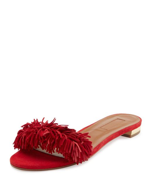 Aquazzura | Red Wild Thing Suede Flat Slide Sandal  | Lyst