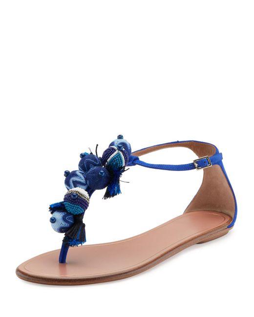 Aquazzura | Blue Wild Thing Fringed Slide Sandal | Lyst