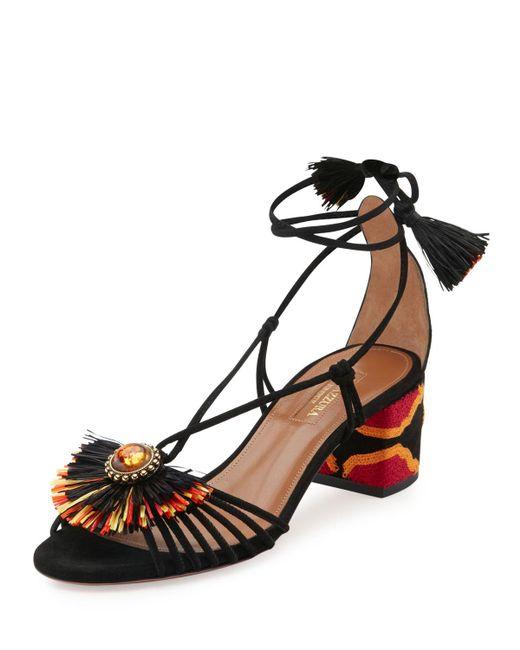 Aquazzura   Black Samba Suede Block-heel Sandal   Lyst
