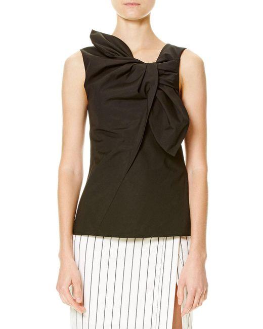 Carolina Herrera | Black Sleeveless Cotton-blend Bow Top | Lyst