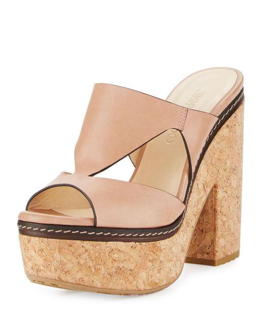 Jimmy Choo   Natural Nixie Leather Cork Platform Sandal   Lyst