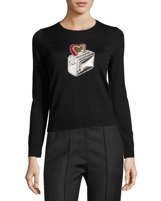 Marc Jacobs | Black Heart Toaster Appliqué Crewneck Sweater | Lyst