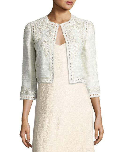 Monique Lhuillier   Gray Embroidered Boucle Cropped Jacket   Lyst