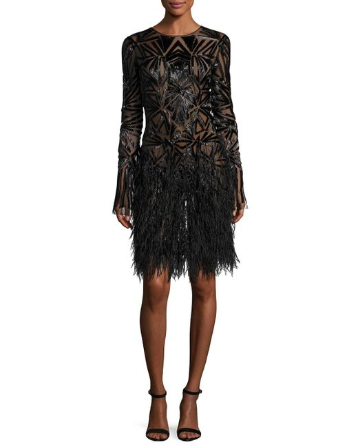 Monique Lhuillier | Black Beaded Long-sleeve Feather-skirt Dress | Lyst
