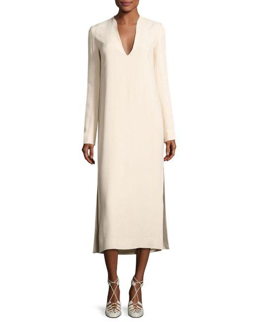 The Row | Natural Alice Long-sleeve V-neck Midi Dress | Lyst