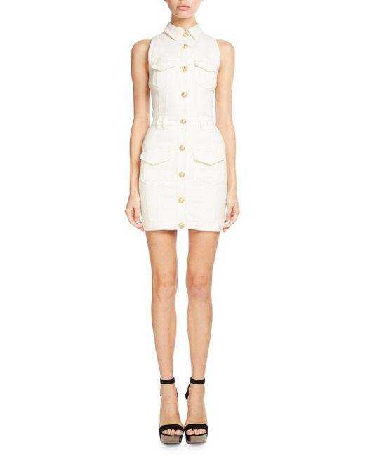 Balmain | White Sleeveless Denim Shirtdress | Lyst