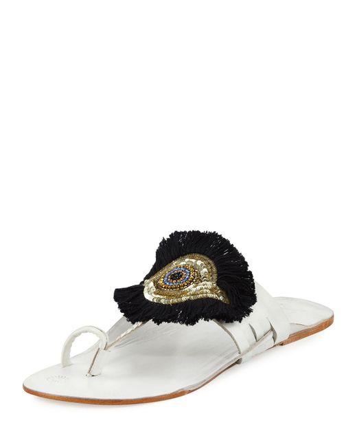 Figue | White Evil Eye Medallion Flat Slide Sandal | Lyst