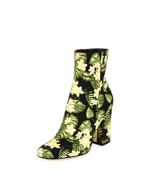 Gianvito Rossi | Yellow Floral-print Block-heel Boot | Lyst