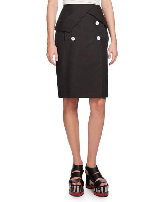 Proenza Schouler | Black Heavy Poplin Pencil Skirt | Lyst