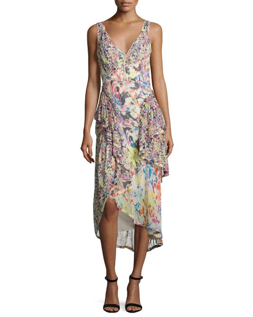 Jason Wu | Multicolor Mixed Floral-print Chiffon Midi Dress | Lyst