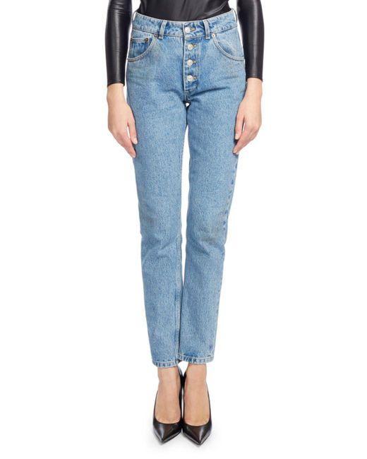Balenciaga | Blue High-waist Button-fly Denim Cigarette Jeans | Lyst