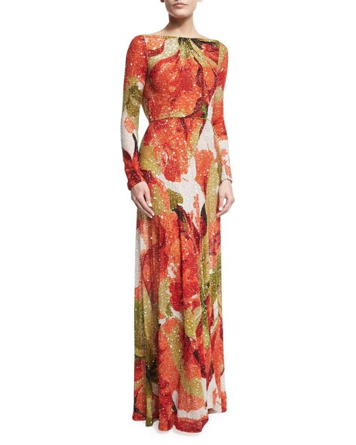 Naeem Khan | Orange Beaded Floral Long-sleeve Gown With Cowl Back | Lyst