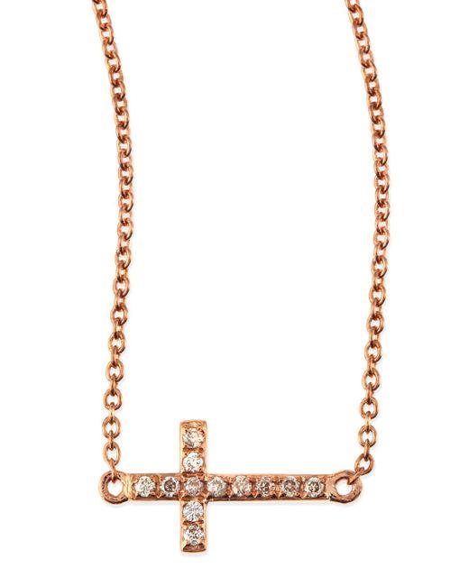 Sydney Evan | Metallic Small 14k Rose Gold Pave Diamond Cross Necklace | Lyst