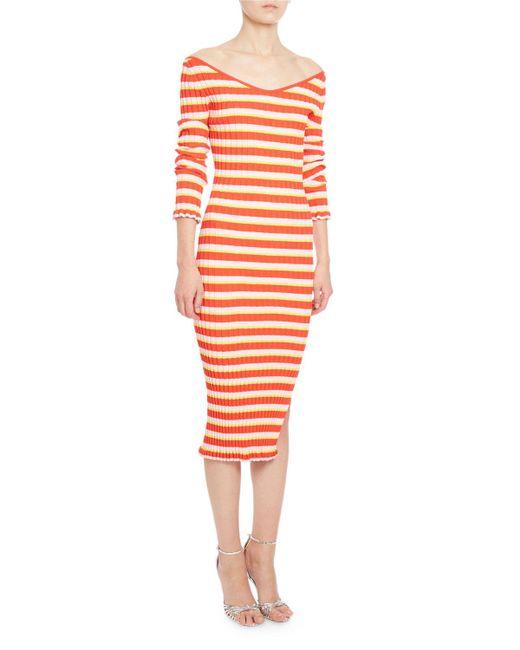 Altuzarra | Red Socorro Striped Knit 3/4-sleeve Midi Dress | Lyst