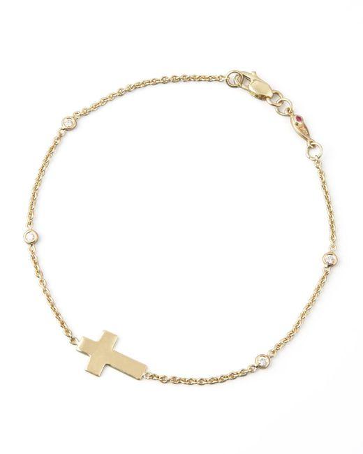 Roberto Coin | Metallic Integrated Cross Diamond Bracelet | Lyst