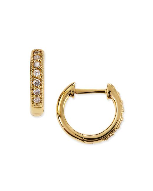 Jude Frances | Yellow Small 18k Gold Hoop Earrings With Diamonds | Lyst
