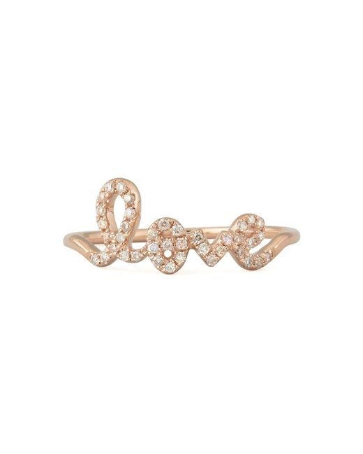 Sydney Evan | Metallic 14k Gold Diamond Love Script Ring | Lyst