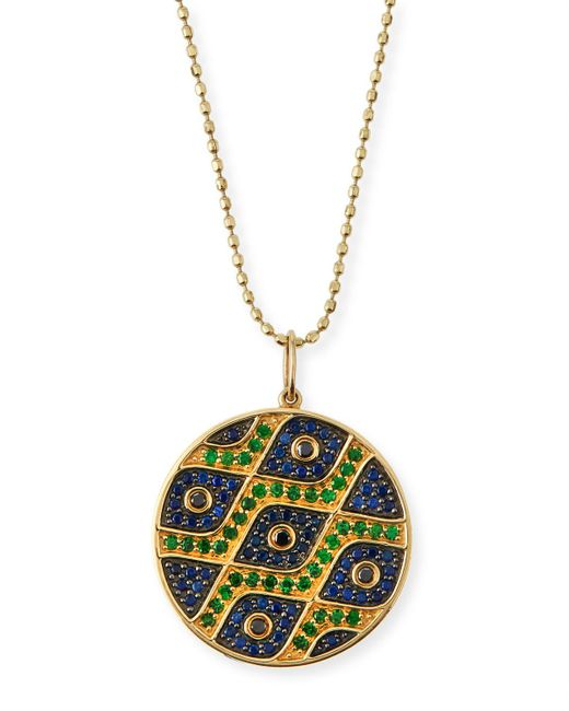 Sydney Evan | Metallic Multi-eye Black Diamond & Sapphire Medallion Necklace | Lyst