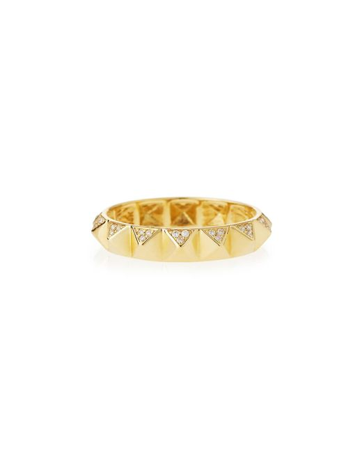 Sydney Evan | Metallic 14k Pave Diamond Pyramid Eternity Band Ring | Lyst