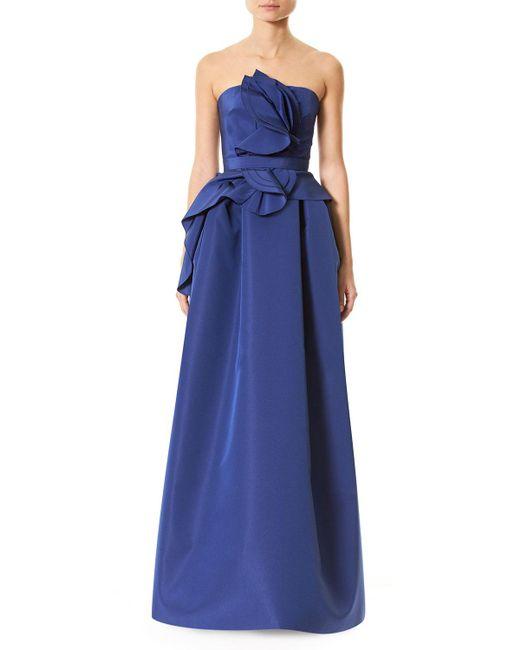 Carolina Herrera | Blue Strapless Silk Faille Ruffle-front Gown | Lyst